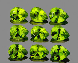 5x4 mm Pear 9 pcs 3.23cts Green Peridot [VVS]