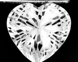 ~CUSTOM CUT~ 5.63 Cts Natural Stunning White Topaz Fancy 11mm Heart Brazil