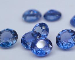 VVS! Round Cut Heated Blue Sapphire 9 Pieces (Sri Lanka)