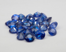 VVS! Round Cut Heated Cornflower Blue Sapphire 28 Pieces