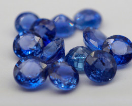 VVS! Round Cut Heated Blue Sapphire 12 Pieces (Sri Lanka)