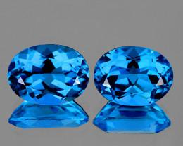 8x6 mm Oval 2 pcs 3.04cts Swiss Blue Topaz [VVS]