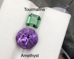 Top Combination 3.60 carats Amethyst and Green Tourmaline  Parcel Ring size