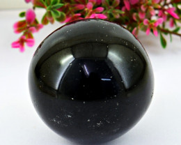 Genuine 545.00 Cts Black Spinel Healing Ball Carving