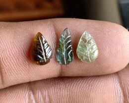 Natural Tourmaline Carved Leaves Genuine Gemstone3428