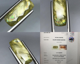 Super 11.73ct Color Rainbow change Diaspore also called Zultanite.