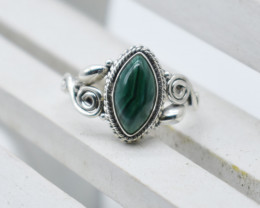 MALACHITE RING 925 STERLING SILVER NATURAL GEMSTONE JR1038