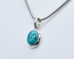 TURQUOISE PENDANT 925 STERLING SILVER NATURAL GEMSTONE JP211