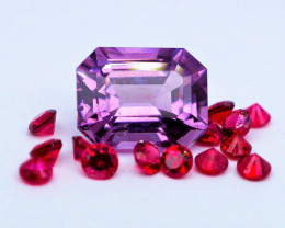 Unheated Violet & Red Spinel 15 Pieces (Burma)