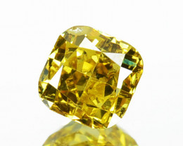 ~UNTREATED~ 0.27 Cts Natural Golden Yellow Diamond Cushion Africa