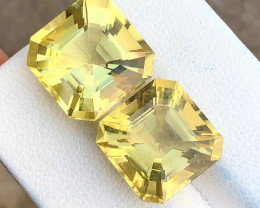16.60 Ct Natural Yellow Transparent Citrine Gemstones Pairs