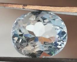 Aquamarine, 3.3c5, oval cut, great luster, nice gem!