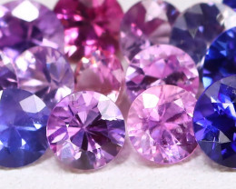 3.27Ct Round 2.0mm Natural Untreated Fancy Color Sapphire Lot A0705