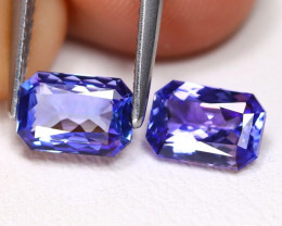 Tanzanite 2.21Ct VVS Octagon Cut Natural Purplish Blue Tanzanite Pair ET144