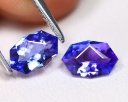 Tanzanite 1.12Ct VVS Master Cut Natural Purplish Blue Tanzanite Pair ET152