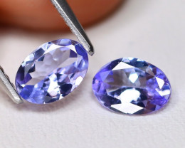 Tanzanite 1.17Ct 2Pcs VS Oval Cut Natural Purplish Blue Tanzanite A0814