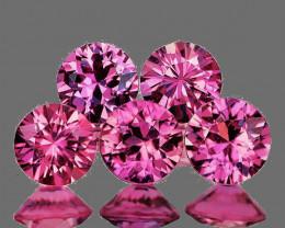 3.30-3.50 mm Round Machine Cut 5 pcs 0.85ct Pink Sapphire [VVS]