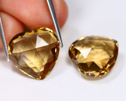 Champagne Citrine 15.40Ct 2Pcs Pixalated Cut Natural Brown Citrine B0818