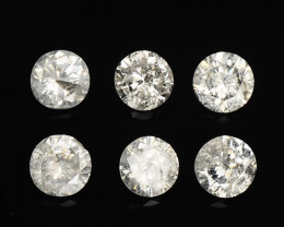 *NoReserve*Diamond 0.45 Cts 6 Pcs Untreated White Color Natural