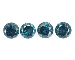 Diamond 0.38 Cts 4 Pcs Sparkling Rare Fancy Blue Color Natural