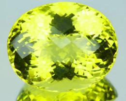 61.15 Cts Huge Natural Lemon Quartz Oval Checkerboard Cut Brazil