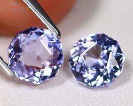 Tanzanite 1.98Ct VVS Master Cut Natural Purplish Blue Tanzanite Pair ET162