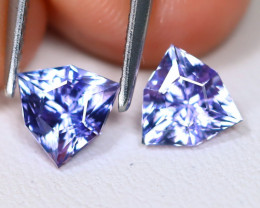 Tanzanite 1.69Ct VVS Master Cut Natural Purplish Blue Tanzanite Pair ET166