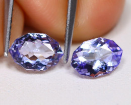 Tanzanite 1.47Ct VVS Oval Cut Natural Purplish Blue Tanzanite Pair ET177