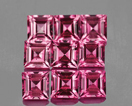 3.00 mm Square 9 pcs 1.38cts Pink Tourmaline [VVS]
