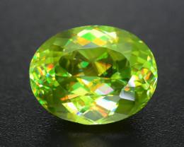 Green Sphene 3.55 ct Mesmerizing Multi Color Dispersion  Sku-73