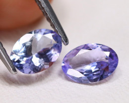 Tanzanite 1.19Ct 2Pcs VS Oval Cut Natural Purplish Blue Tanzanite B1119