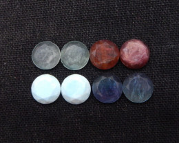 9cts/Pair 1set Natural Larimar, Garnet,Fluorite,Blue Crystal Facted Round C