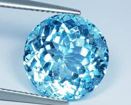 13.36 ct Top Quality Gem Excellent Round Cut Top Luster Blue Topaz
