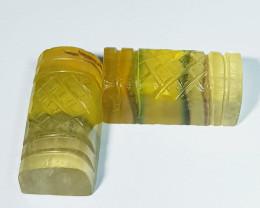 48.87 Ct Parcel Pair of  Natural Bi color Fluorite Designer Rectangle Cut