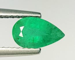 0.76 ct AAA Green Gem Superb Pear Cut Natural Emerald