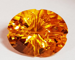 4.10 ct Top Grade Checkerboard Face Oval Flower Cut Natural Citrine
