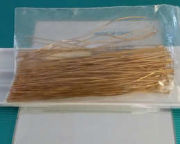 GOLD PLATED BRASS HEAD PINS 75 COUNT 4 INCH - JEWELRY FINDING