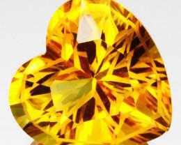 ~CUSTOM CUT~10.13 Cts Natural Golden Orange Citrine Fancy Heart Brazil