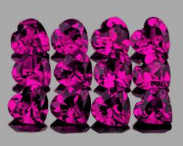 4.00 mm Heart 12 pcs 3.30cts Pinkish Purple Rhodolite Garnet [VVS]