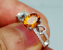14Crt Madeira Citrine 925 Silver Ring 8 Natural Gemstones JI131