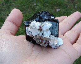 BLACK TOURMALINE With Red Garnet And MICA Crystal
