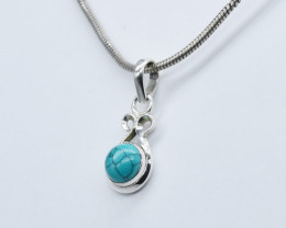 TURQUOISE PENDANT 925 STERLING SILVER NATURAL GEMSTONE JP226