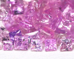 9.13Ct Princess 2.4mm Natural Untreated Pink Color Sapphire Lot A1208