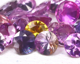 2.55Ct Round 2.5mm Natural Untreated Fancy Color Sapphire Lot A1216
