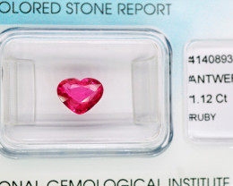 1.12  Cts. Top Quality Pink Red Natural Ruby Burma Gem - IGI Certificate