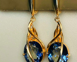 38 CT IOLITE  EARRINGS!!! SILVER-YELLOW  GOLD PLATED