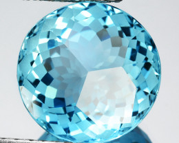 ~CUSTOM CUT~ 13.54 Cts Natural Blue Topaz Fancy Round Brazil