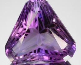 ~CUSTOM CUT~ 32.64 Cts Natural Purple Amethyst Fancy Trillion Bolivia