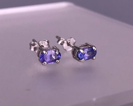 Natural TANZANITE 925 Silver Earring/Stud