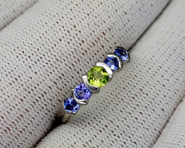 11CT TANZANITE AND PERIDOT 925 SILVER RING 7.5 BEST QUALITY GEMSTONE IIGC32